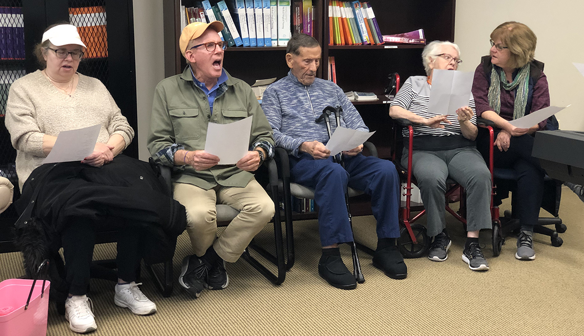 The Different Strokes for Different Folks stroke choir practices for an upcoming performance in Loudoun County, Virginia.