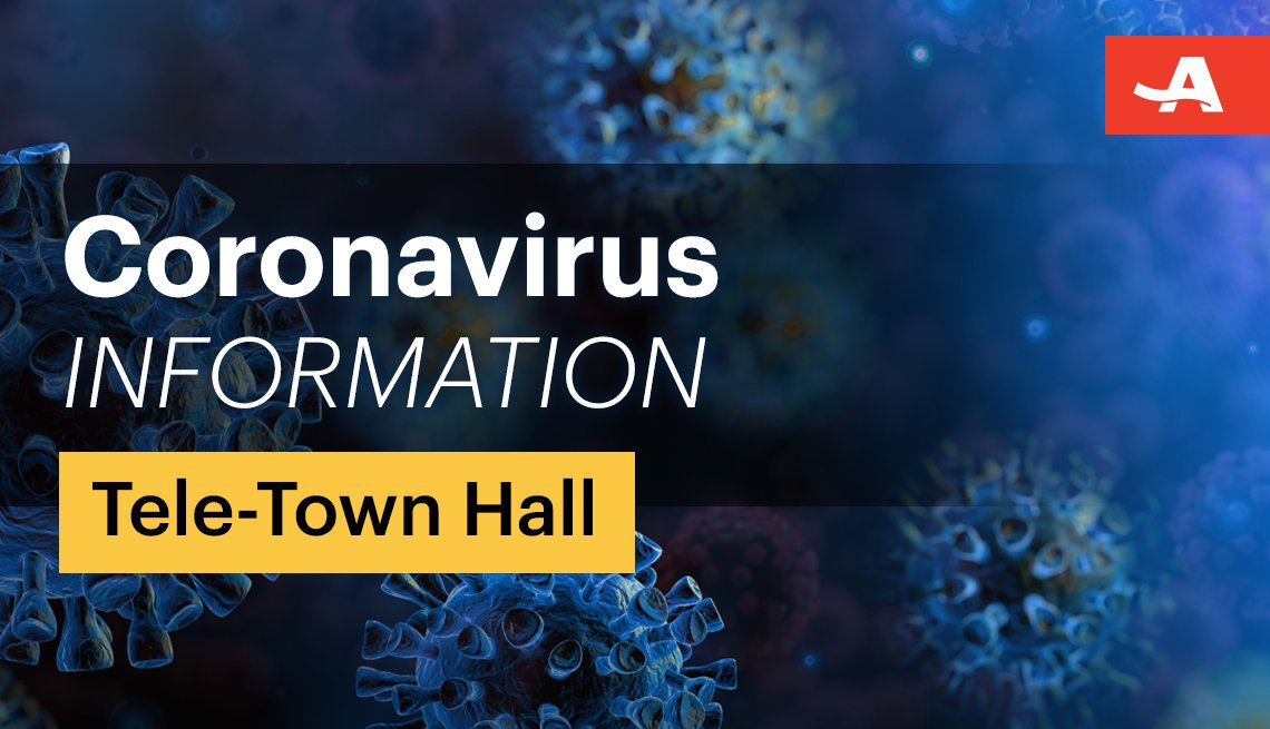 image of coronavirus cells with text overlaid that reads coronavirus information tele town hall