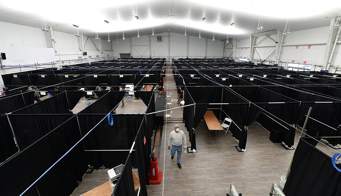 item 9 of Gallery image - a professional tennis arena had been converted into a temporary hospital for coronavirus patients in new york city