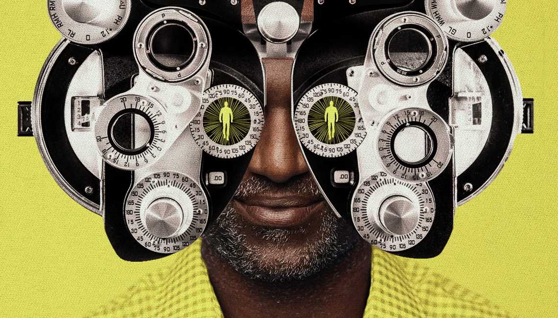 photo illustration of a mans head close up partially hidden by an eye exam machine