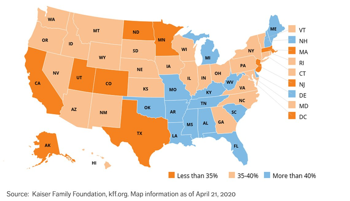united states map showing what states have more adults at higher risk of serious illness if infected with coronavirus