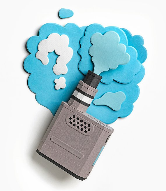 three dimensional cut paper illustration of an e cigarette and blue clouds coming from it