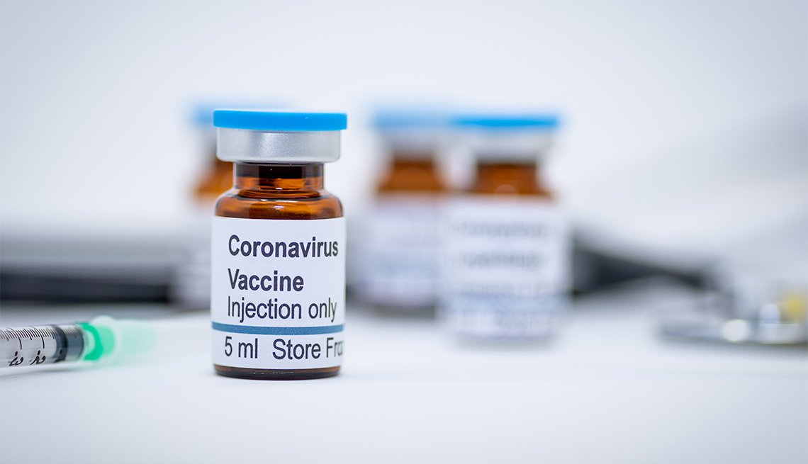 image of a vial labeled coronavirus vaccine