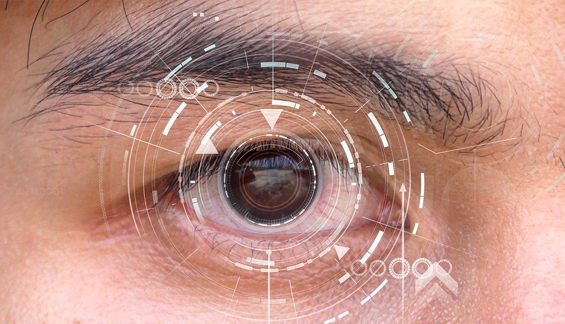 Ojo de un hombre visto de cerca y una ilustración encima