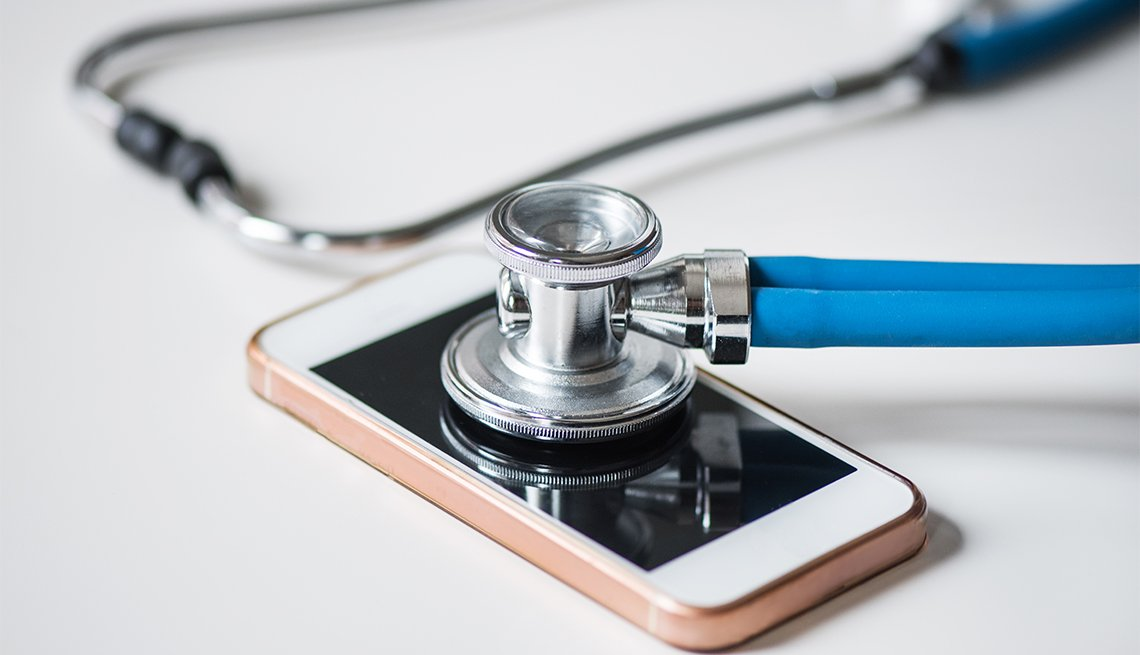 stethoscope on top of mobile phone