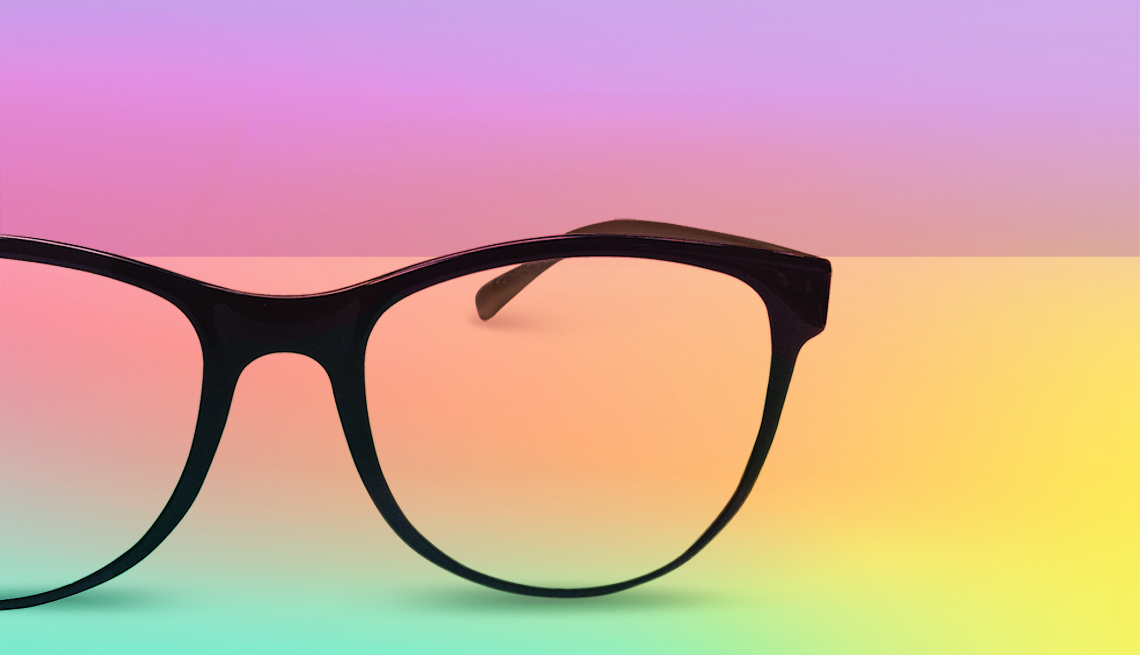 graphic of eyeglasses set against a colorful background