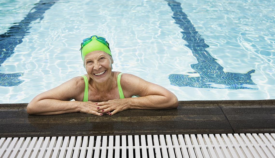 Woman smiling in pool