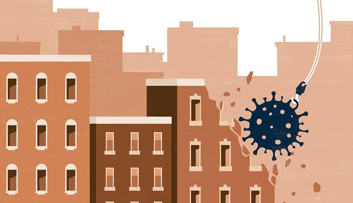 Ilustración de una bola de demolición en forma de virus destruyendo edificios de color marrón