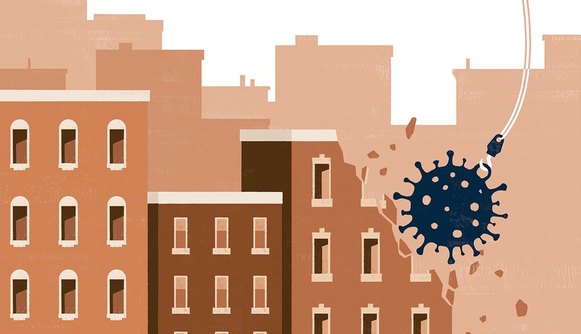 illustration of a wrecking ball in the form of a coronavirus damaging a building