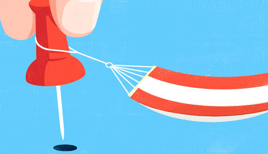 illustration of a hammock and a push pin