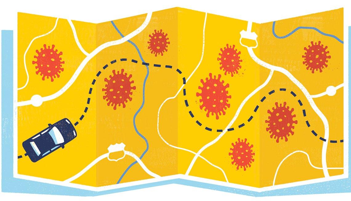 Ilustración de un mapa con imágenes de coronavirus y un automóvil