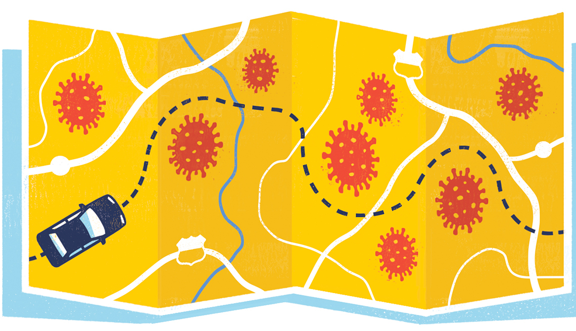 Illustration of a map with coronavirus imagery and a car