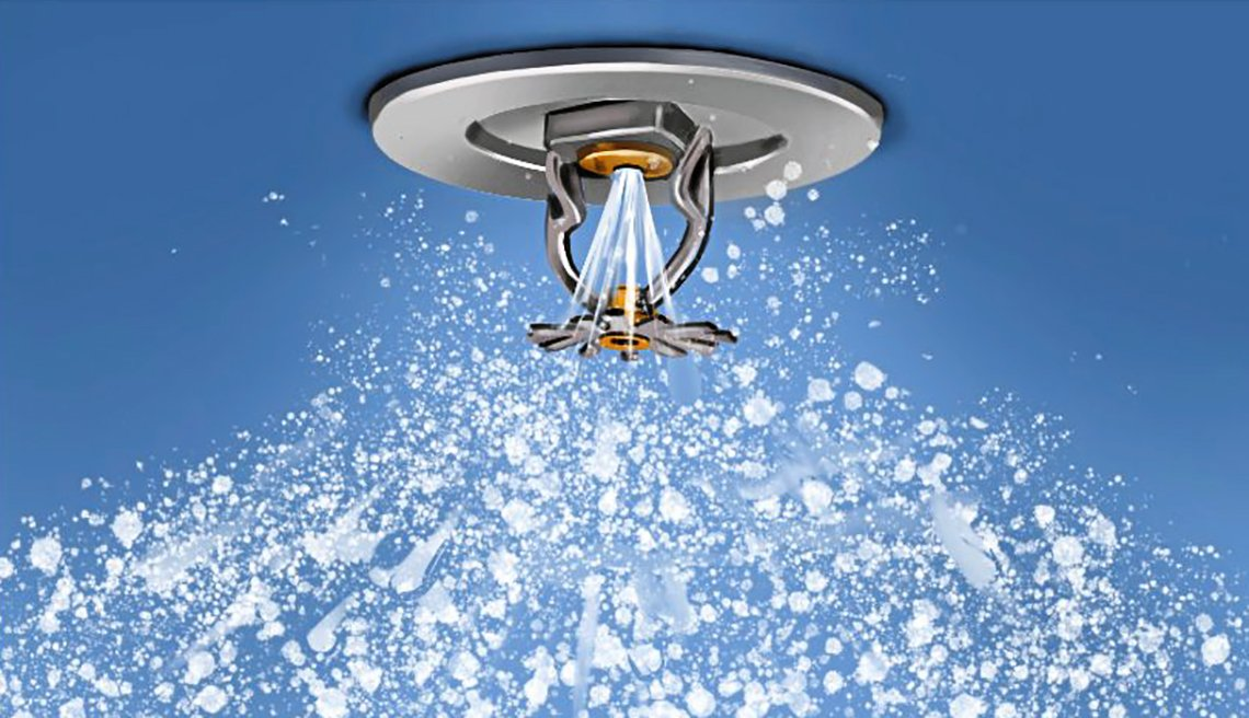 illustration of a ceiling sprinkler that is activated