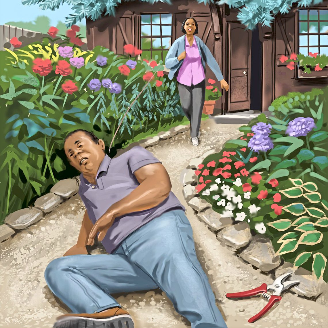 lllustration of a man who has fallen down on the walkway leading up to his home and his wife running out to assist
