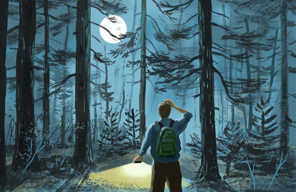 Ilustración de un hombre caminando en el bosque por la noche