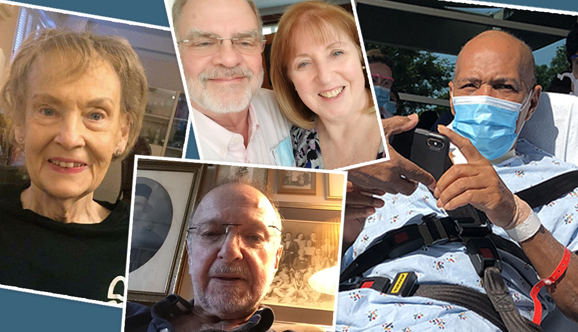 collage of covid survivors judith hunt georgene stephens ronald hill and paul levine