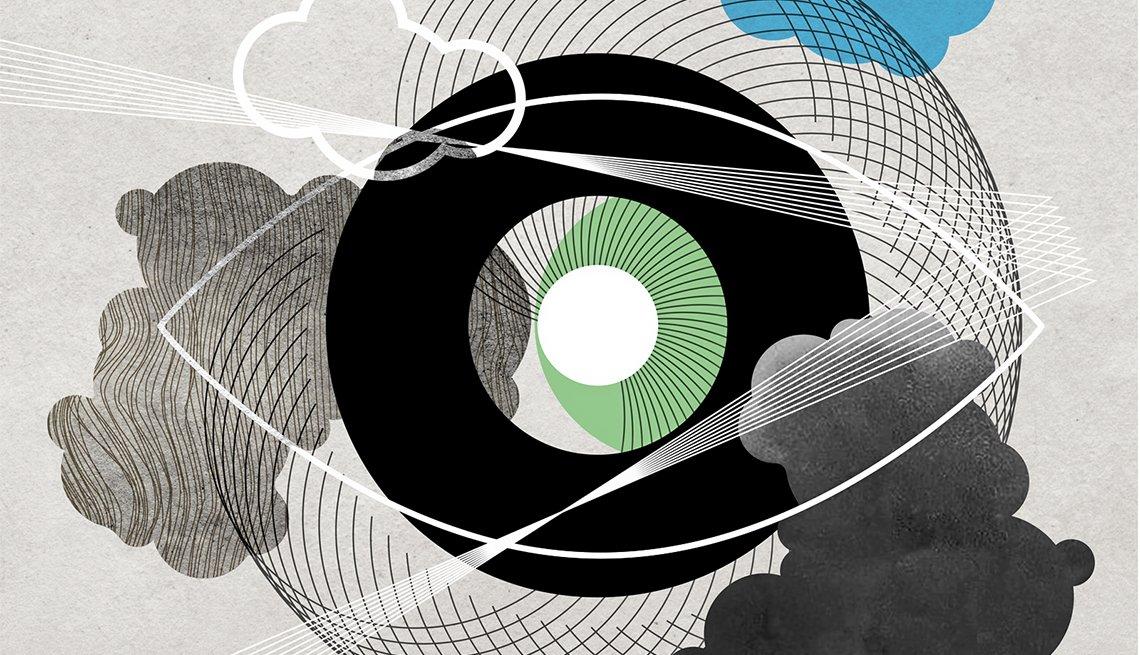 Ilustración de un ojo y nubes gris y negras