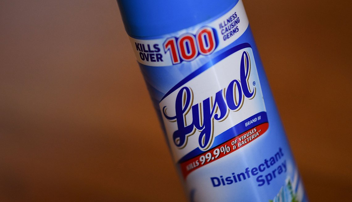 A bottle of lysol