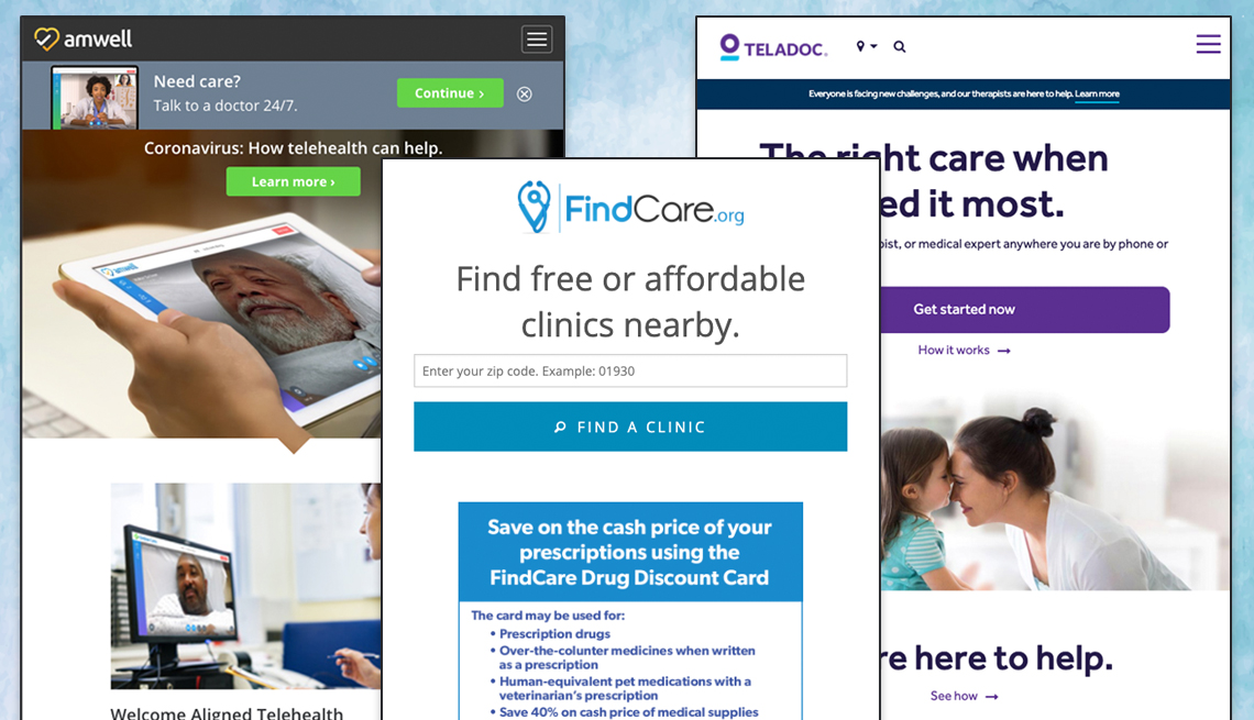 screenshots of amwell teladoc and findcare websites