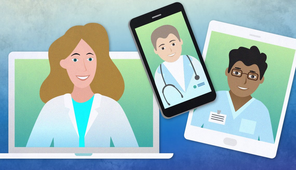 illustration of three devices used in telehealth to connect to a doctor which are a laptop a smartphone and a tablet