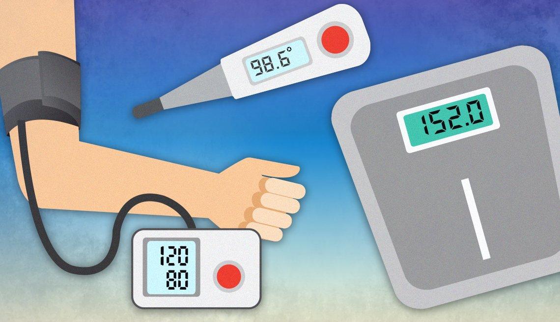 Ilustración de varias herramientas de diagnóstico de salud