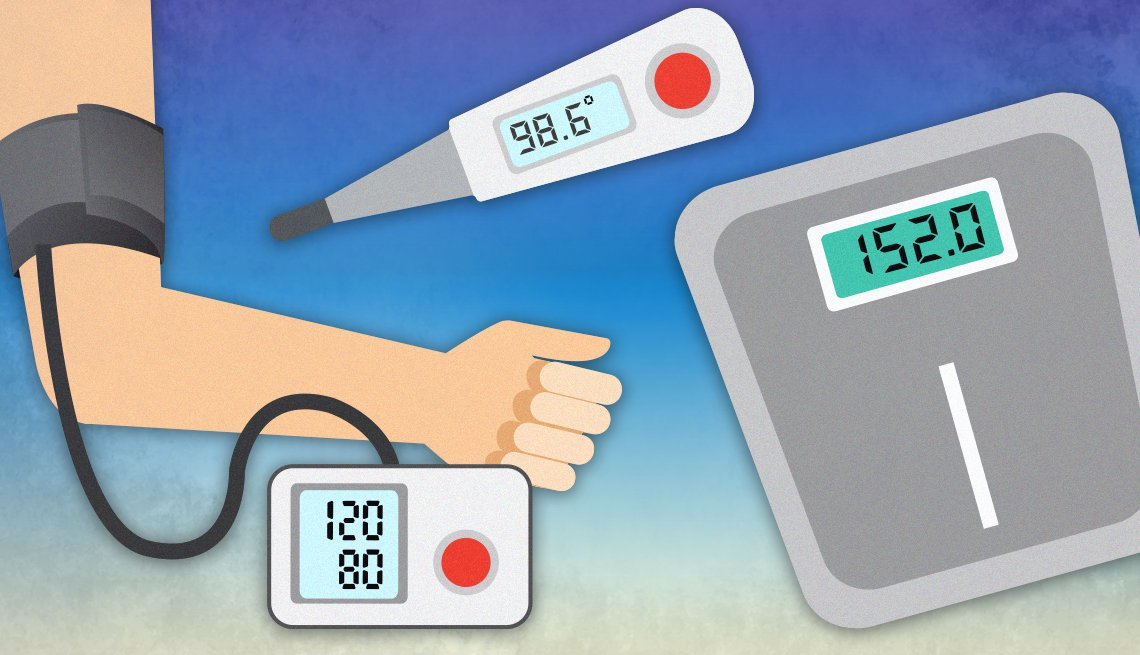illustration of health diagnostic tools blood pressure cuff thermometer and scale