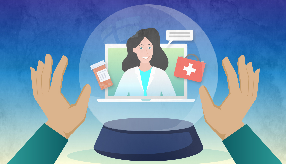 illustration of a telehealth doctor appointment within a crystal ball