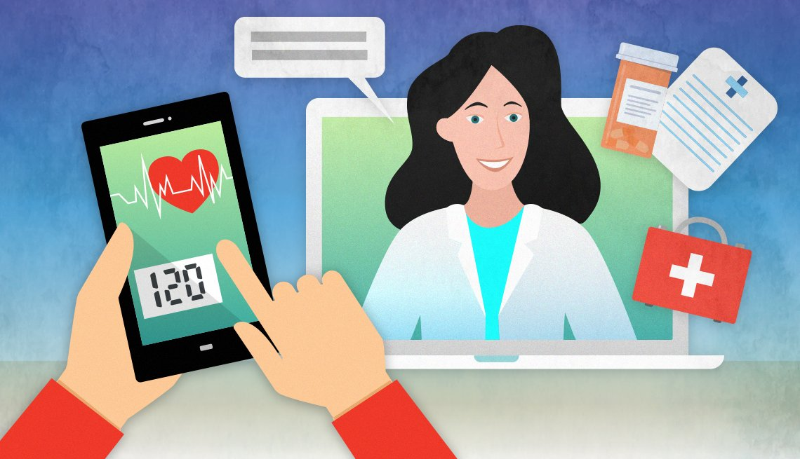 telehealth concept illustration with doctor coming out of laptop talking to patient who is monitoring their blood pressure on their smartphone