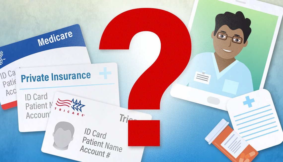 illustration of telehealth concept and insurance cards from medicare tricare and private insurance