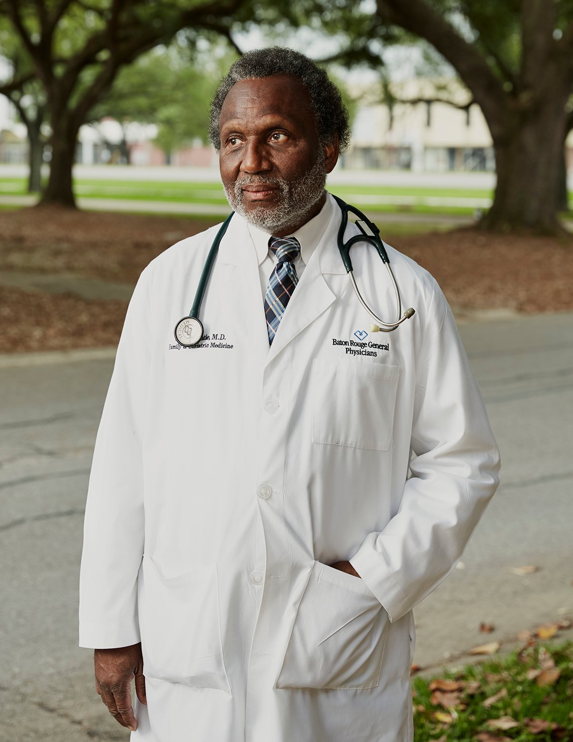 doctor donnie batie outside his office in baton rouge louisiana
