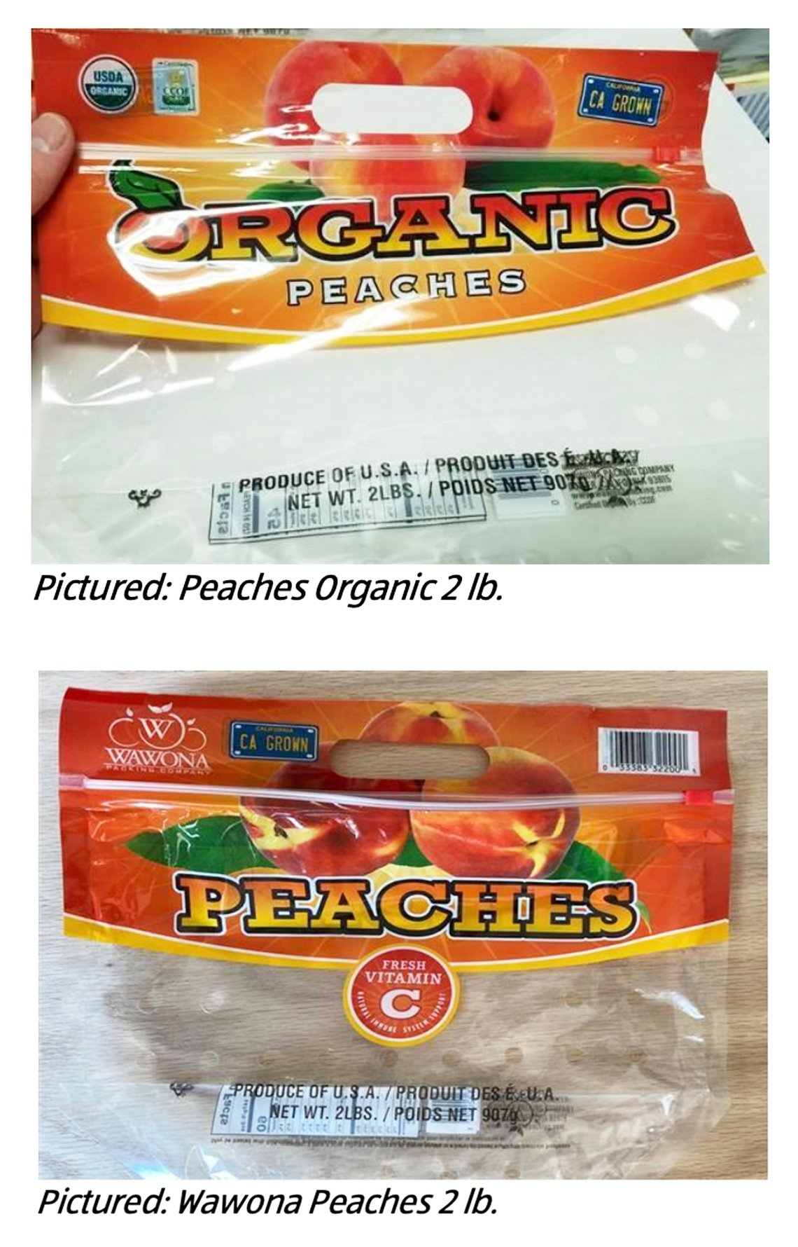 Empty bag that held peaches potentially contaminated by salmonella.