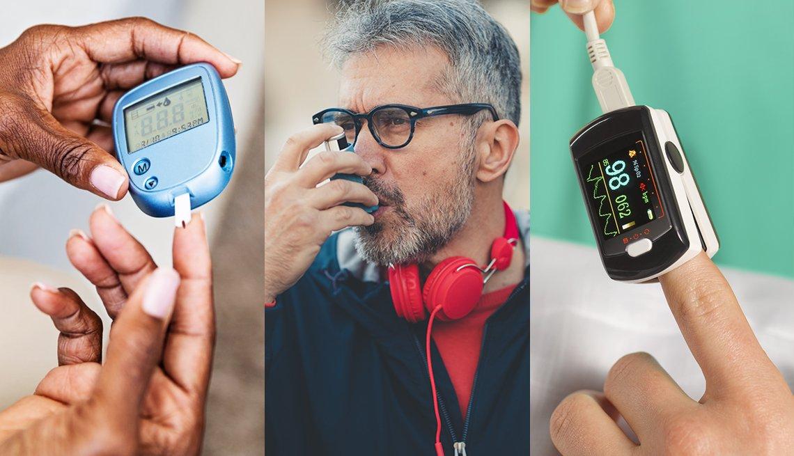 Tres fotos que muestras tres condiciones; diabetes, asma y bajos niveles de oxígeno
