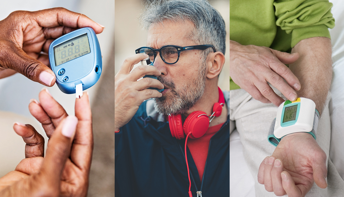 three images picturing health conditions a blood glucose monitor to show diabetes a man using an inhaler to show asthma or lung conditions and a person using a wrist cuff blood pressure monitor for heart conditions