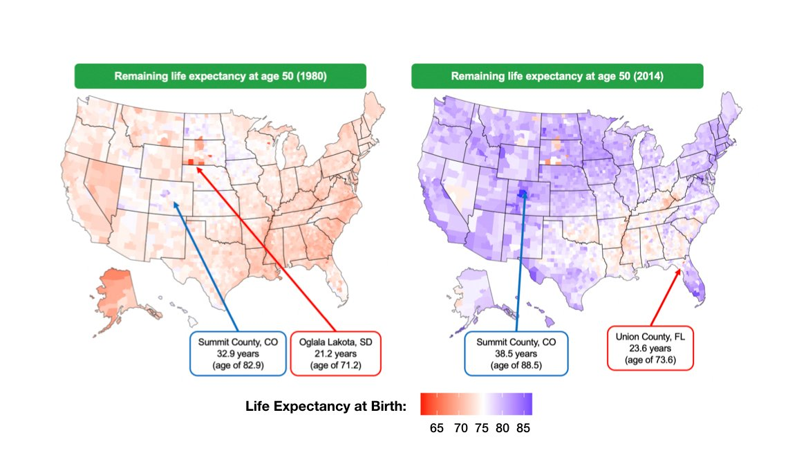 Map of life expectancy from age 50 color coded by county