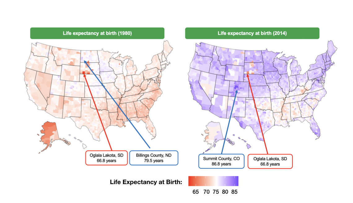 Map of life expectancy from birth color coded by county