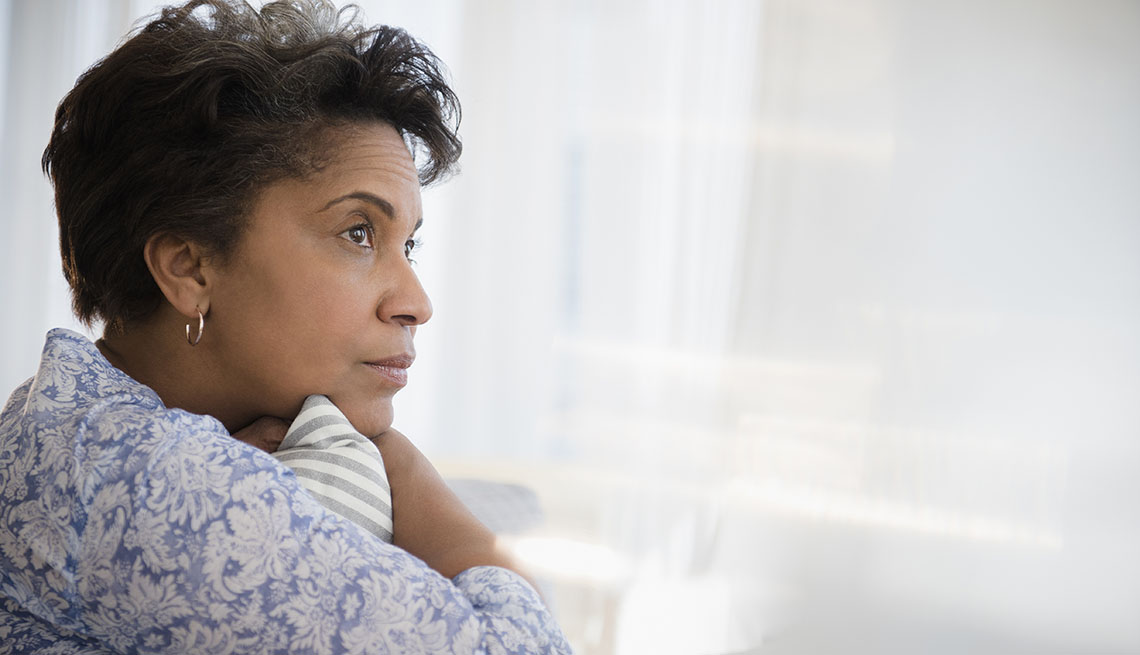 pensive older woman