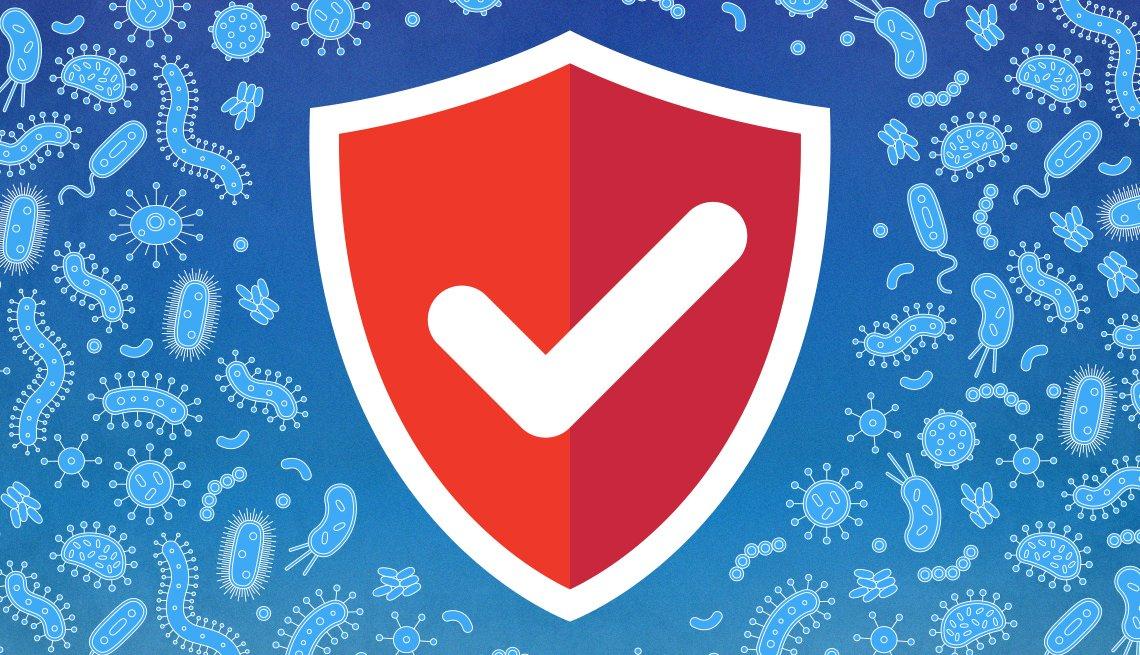 Ilustración de un escudo que lucha contra los gérmenes del virus que lo rodean