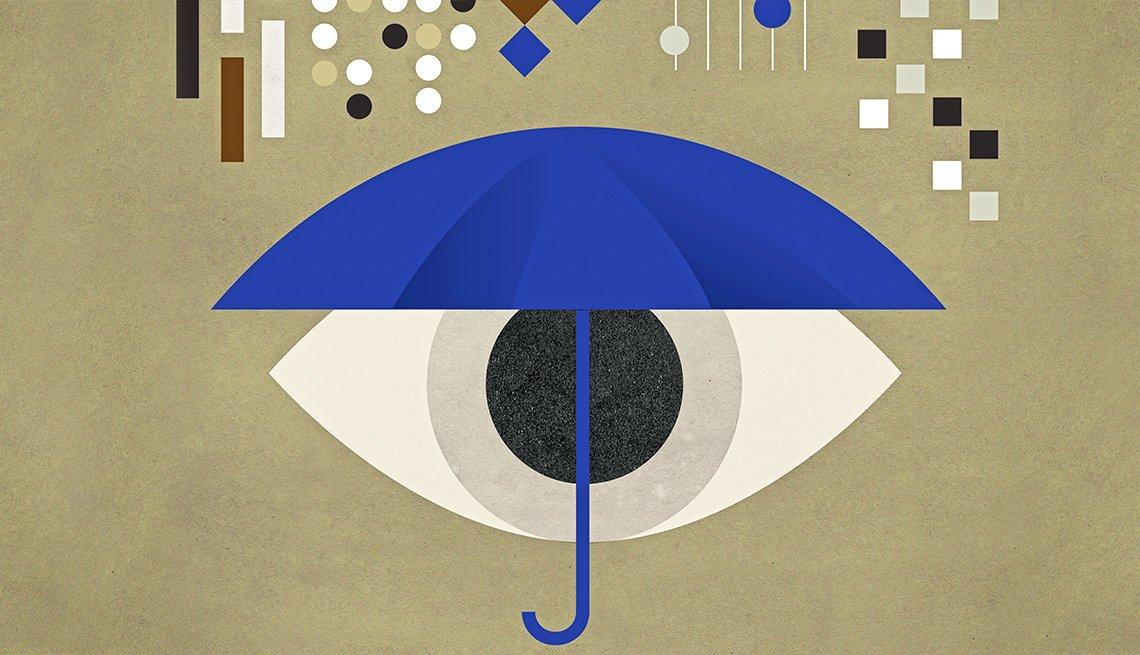 Ilustración de un ojo y una sombrilla