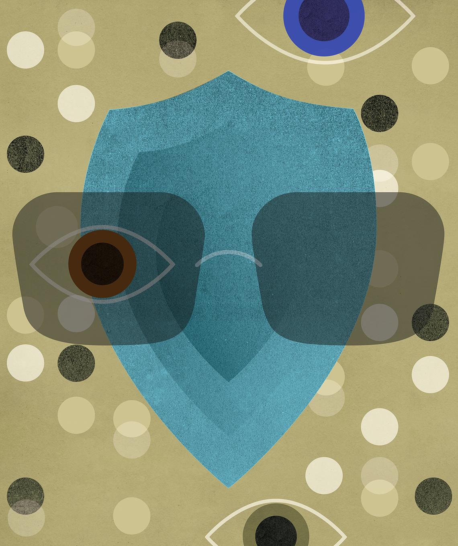 stylized semi abstract illustration of a shield wearing eyeglasses