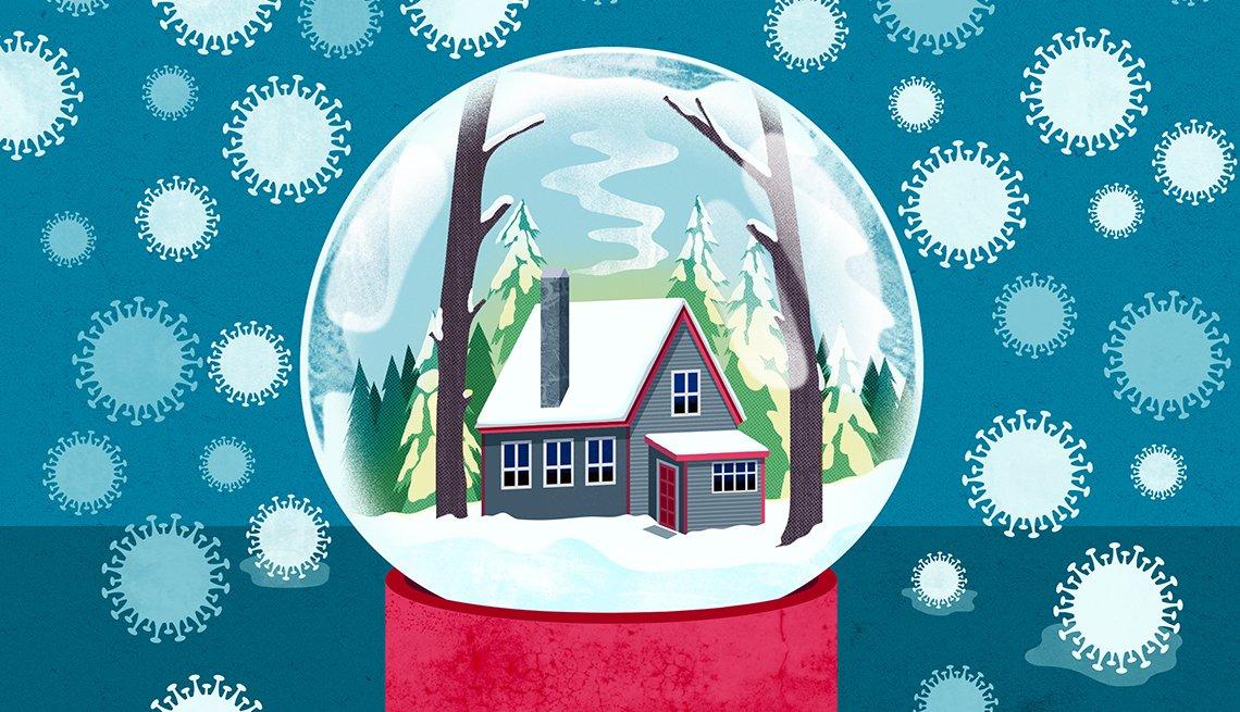 Ilustración de un globo de nieve con una casita adentro