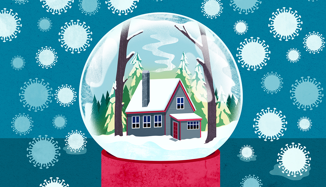 illustration of a snowglobe containing a warm cozy house but the snow is outside the globe and it is made of covid nineteen cells