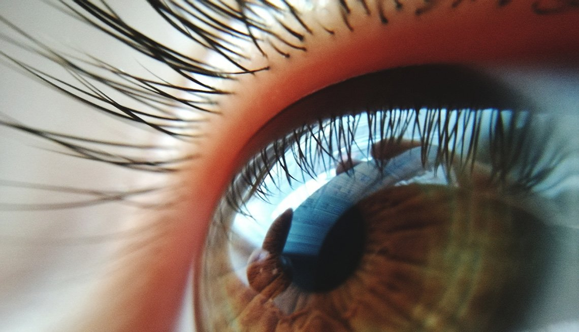 close up of an eye and eyelashes