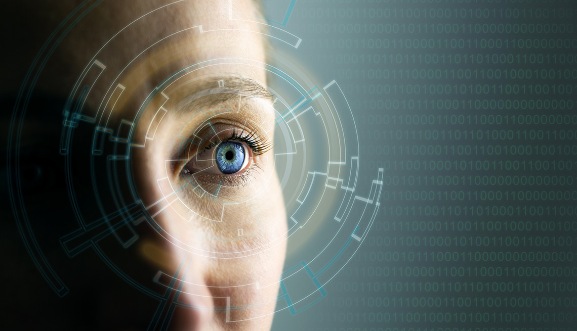 close up of a woman's eye with a futuristic scan graphic overtop