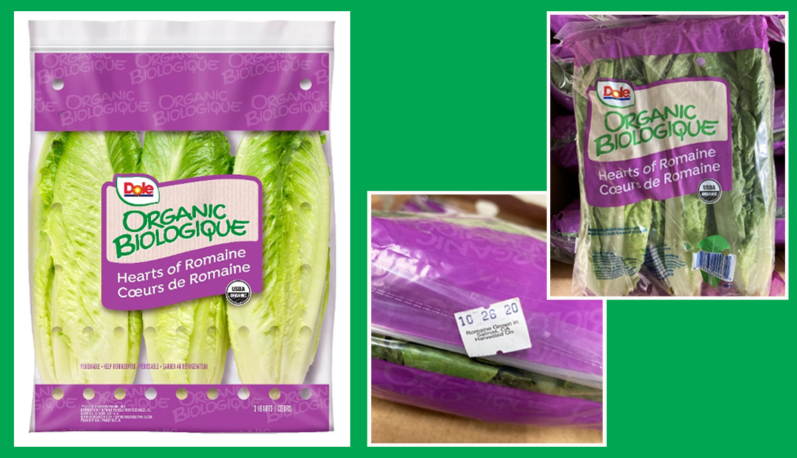 package of organic biologique romaine lettuce with a couple of views of the package