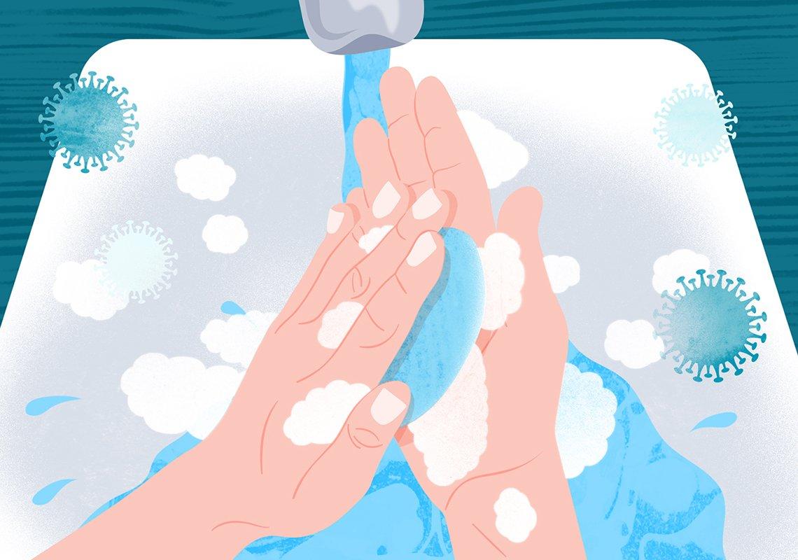 Ilustración de una persona lavándose las manos con agua y jabón