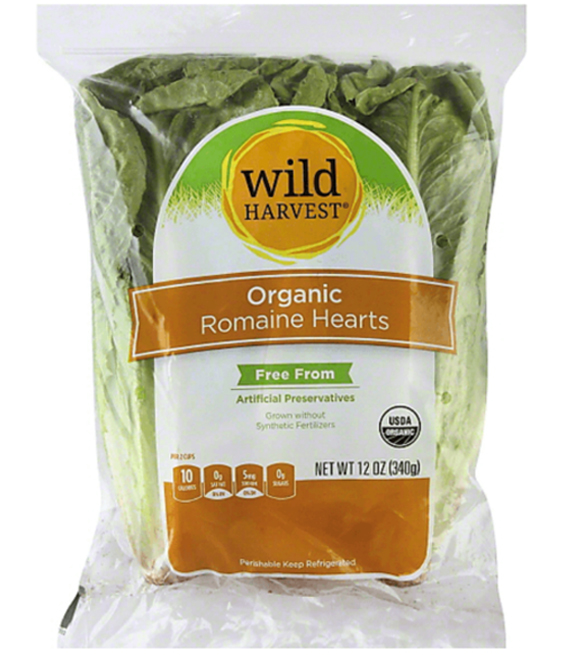 package of wild harvest organic romaine hearts that is being recalled