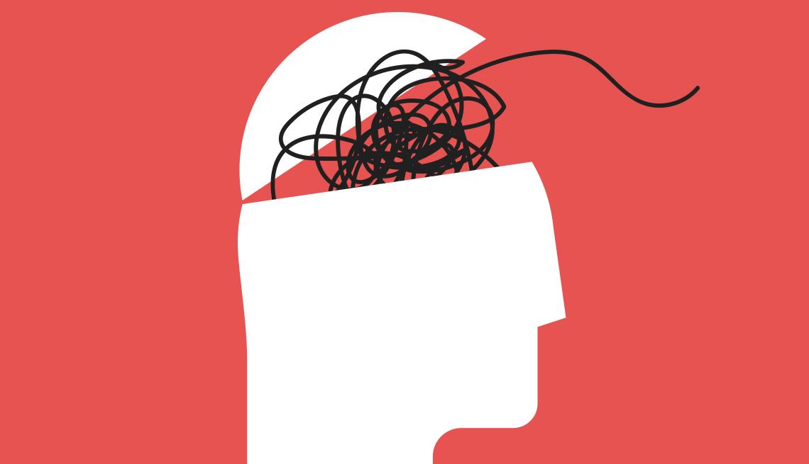 Ilustración de la cabeza humana con líneas desordenadas de pensamientos saliendo