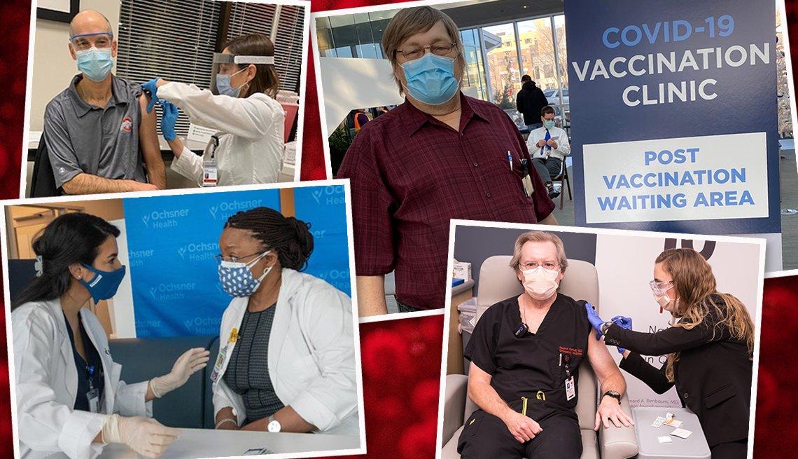 En orden de las manecillas del reloj, James Allen, OSU;Les McKinney; Stephen Hartsell, y dr. Luti Kashimawo recibiendo la vacuna de la covid