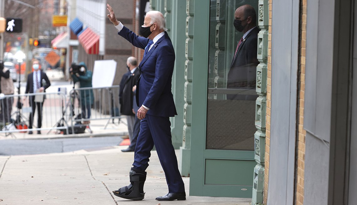 Joe Biden waves to a crowd