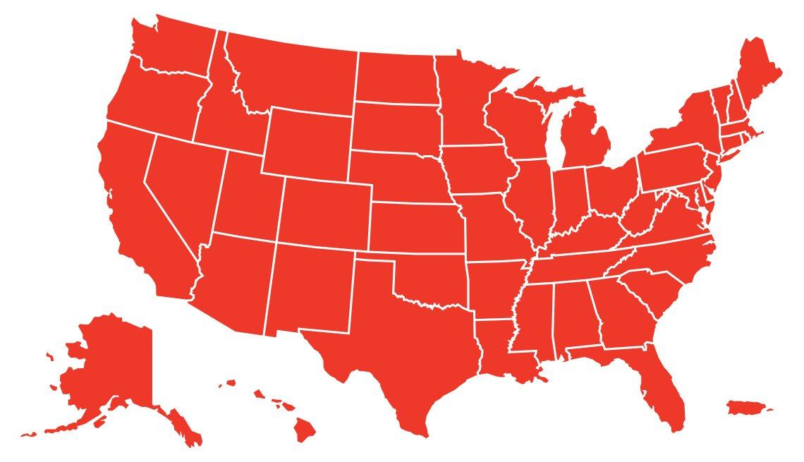 Mapa en rojo con los estados de Estados Unidos